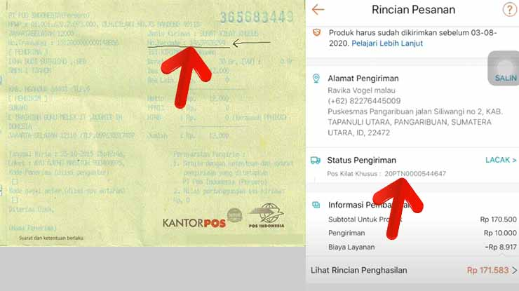 Mendapatkan Nomor Resi Pos Indonesia