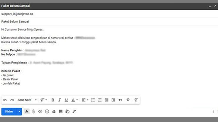 Cara Komplain Lewat Email ke Ninja Express