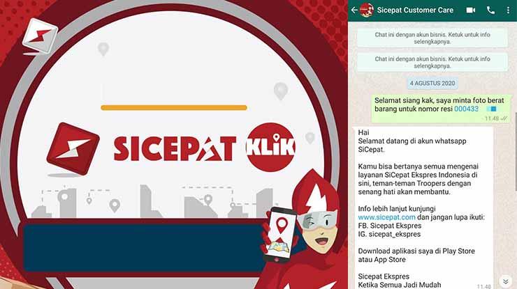 Cara Komplain Lewat WhatsApp SiCepat