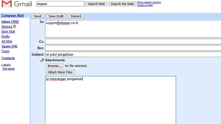 Cara Komplain via Email Shopee Express