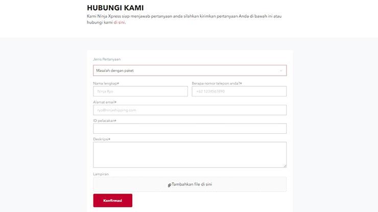 Komplain Melalui Website Ninja Express