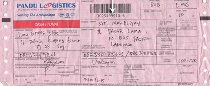 Nomor Resi Pandu Logistics