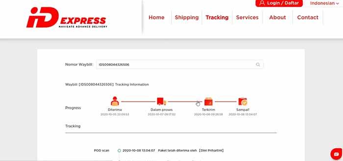 lacak paket id express