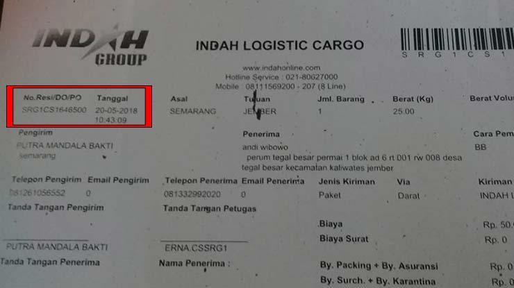 Contoh Nomor Resi Indah Logistic Cargo
