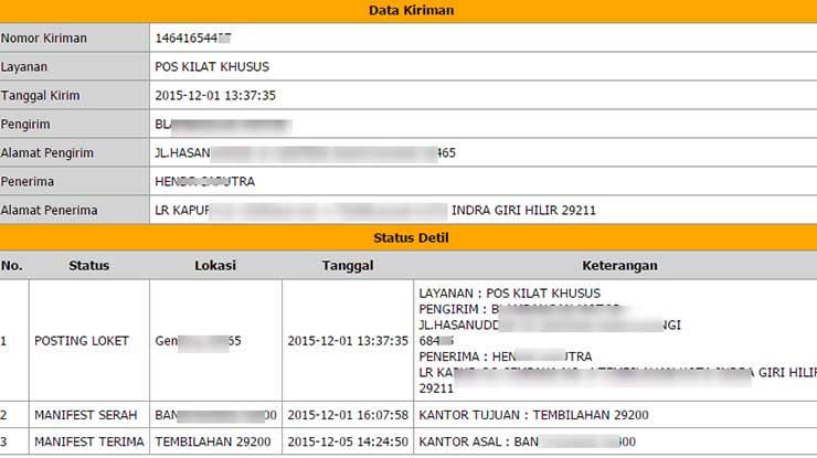 Status Pengiriman POS Indonesia