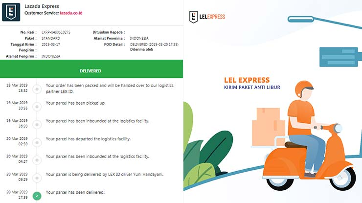 Status Pengiriman LEL Express