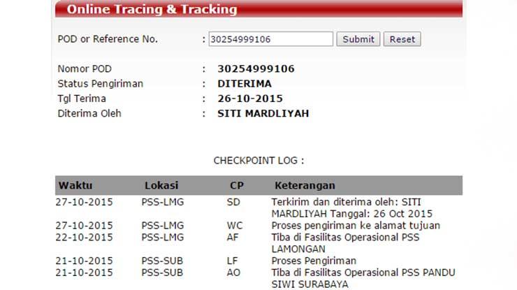 Status Pengiriman Pandu Logistics